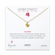 year of the rooster charm necklace, gold dipped