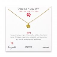year of the dog charm necklace, gold dipped