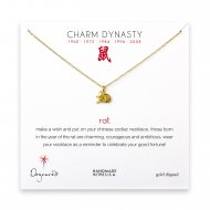 year of the rat charm necklace, gold dipped