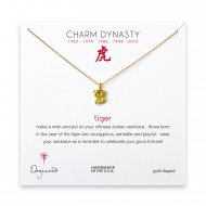 year of the tiger charm necklace, gold dipped