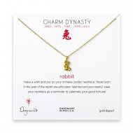 year of the rabbit charm necklace, gold dipped