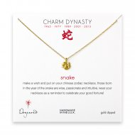 year of the snake charm necklace, gold dipped