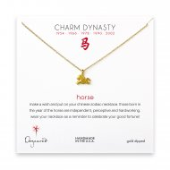 year of the horse charm necklace, gold dipped