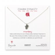 year of the monkey charm necklace, sterling silver