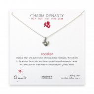 year of the rooster charm necklace, sterling silver