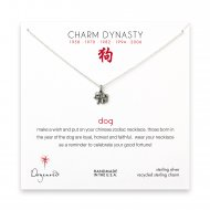 year of the dog charm necklace, sterling silver