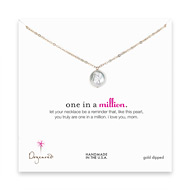 one in a million mom gold dipped necklace with white round pearl