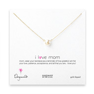 I love mom large white pearl necklace, gold dipped