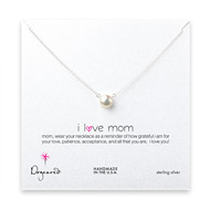 I love mom large white pearl necklace, sterling silver