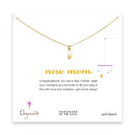 new mom necklace with gold dipped safety pin