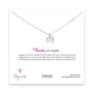moms are angels sterling silver necklace with angel wings