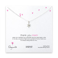 thank you mom necklace, sterling silver