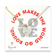 love large mother of pearl heart necklace on gold dipped ball chain