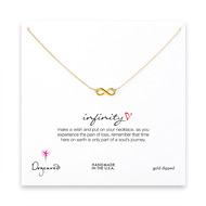 infinity necklace, gold dipped