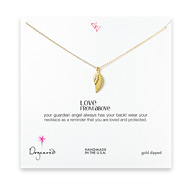 love from above angel wing necklace, gold dipped