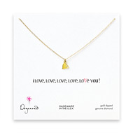 i love, love, love you diamond heart necklace, gold dipped