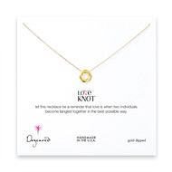 love knot necklace, gold dipped - 18 inches