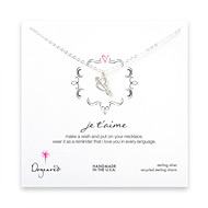 je t'aime sterling silver necklace
