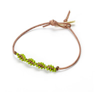 friendship twisted teak leather bracelet with olive beads