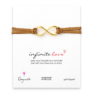 large infinite love bracelet on latte leather, gold dipped