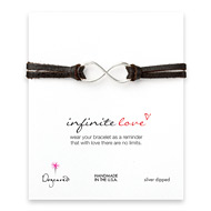 large infinite love bracelet on chocolate leather, silver dipped