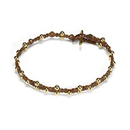 sparkle macrame bracelet with scattered brass beads on tobacco irish linen
