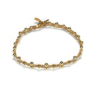 sparkle macrame bracelet with scattered brass beads on natural irish linen