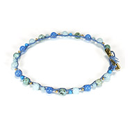 kitchen sink blue multi bead single strand bracelet on ocean irish linen