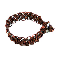 large teak leather bangle bracelet with oxidized beads