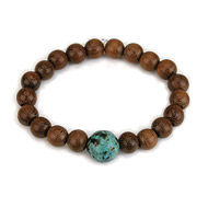 wood bracelet in teak with turquoise bead