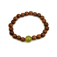 wood bracelet in teak with olive jade bead