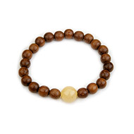 wood bracelet in teak with yellow jade bead