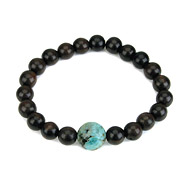wood bracelet in ebony with turquoise bead