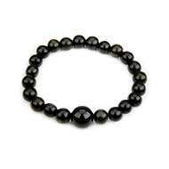 wood bracelet in ebony with onyx bead