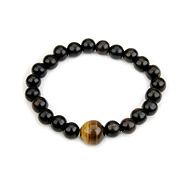 wood bracelet in ebony with tigers eye bead