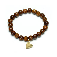 not to worry teak wood bracelet with gold dipped sideways heart