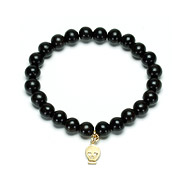 not to worry ebony wood bracelet with gold dipped skull