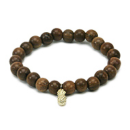 wood bracelet in teak with gold dipped pineapple