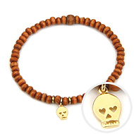 not to worry teeny tiny rust wood bracelet with gold dipped skull
