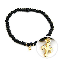 not to worry teeny tiny ebony wood bracelet gold dipped gothic cross