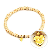 not to worry teeny tiny ivory wood bracelet gold dipped stone heart