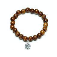 not to worry teak wood bracelet with sterling silver earth charm