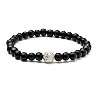 not to worry ebony wood bracelet with silver dipped sparkle ball