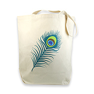 peacock feather reusable tote bag