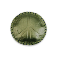 peace green leather paperweight