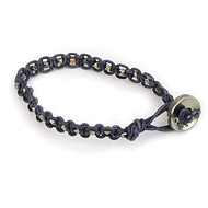 navy leather bangle bracelet with oxidized round beads : Dogeared Jewels and Gifts
