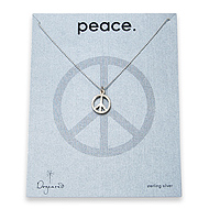 peace sign sterling silver necklace on tiny ball chain