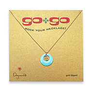 go go necklace mint disc with gold dipped peace sign