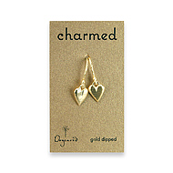 charmed gold dipped kind heart earrings