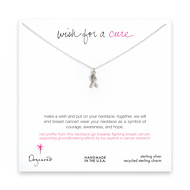 wish for a cure sterling silver ribbon necklace